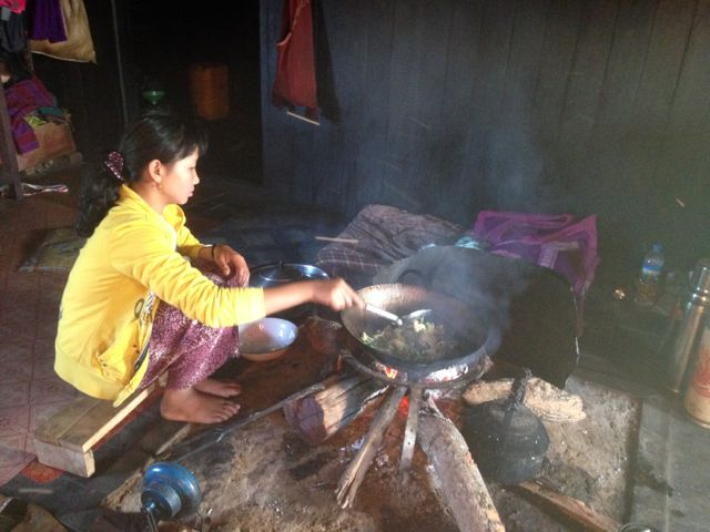 Amaung's sister cooks breakfast