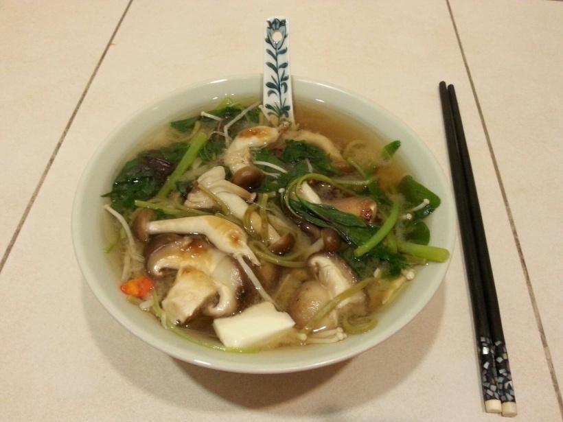Tv dinner favourite - three mushroom, tofu, spinach and miso soup