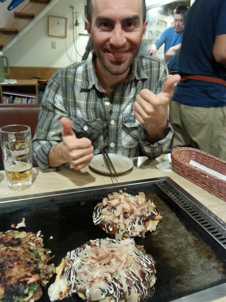 Gabe enjoying the okonomiyaki - a kind of pancake. Three of us ate to bust for less than half the price of a set menu for one at the Hilton! Not fine dinging but jolly tasty