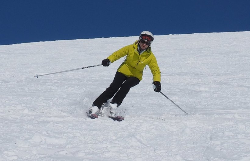 Going for it - Black Run Babe!