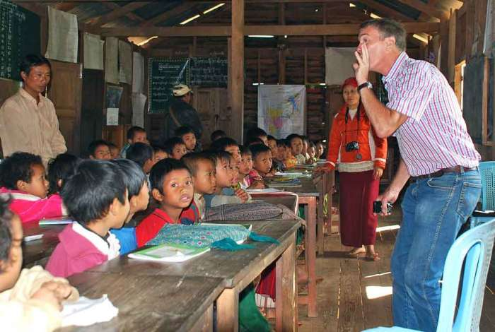 The founder of UWS, Chris Howarth, in one of the schools in CAmbodia