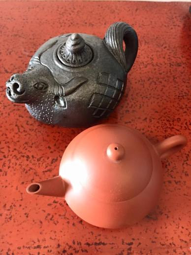 My souvenirs - yak teapot for green tea; earthenware for pu'er tea