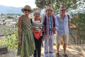 Lijiang: Ross and I posing with our Beijing friends, all dressed up...