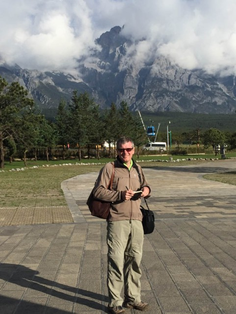 In the car park at the bottom of the Jade Dragon Snow Mountain...no peak in sight!