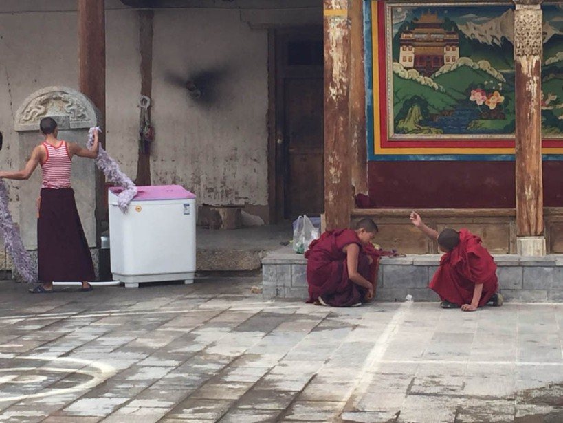 Monks at work and play