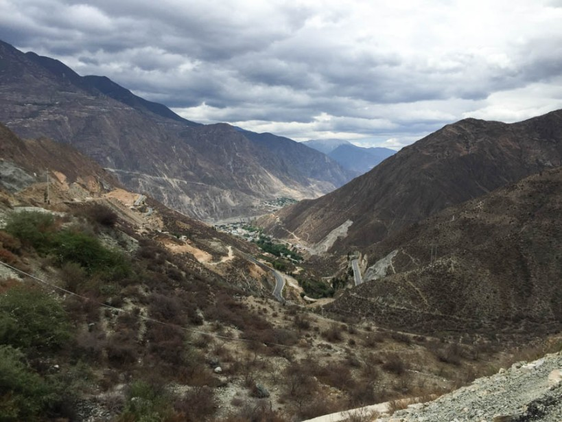 The road to Lhasa, winding around the mountains