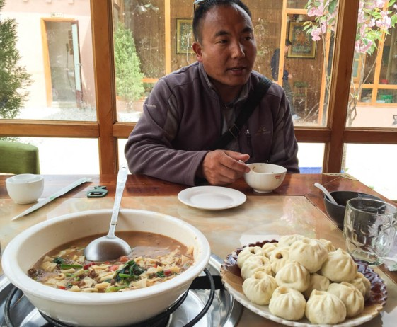 Yak dumplings and yak noodle soup on arrival in Shangri La, with our guide