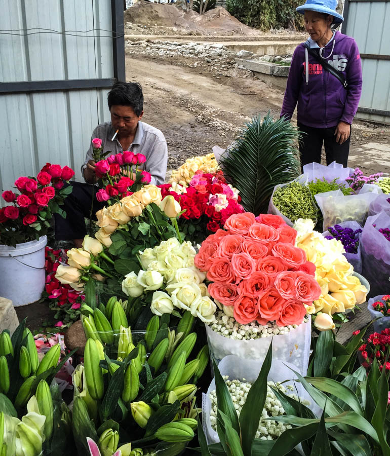 Flowers are one of Yunnan's largest exports and masses for sale in Dali