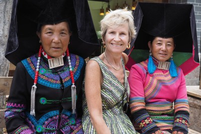 Lijiang: Vicky with Women in Black Yi costume