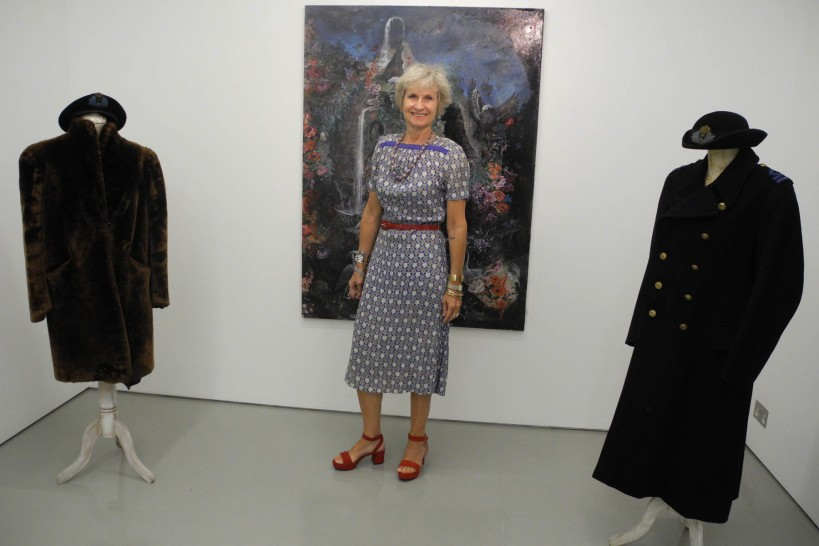 My installation - mum's fur coat and naval great coat, compete with WRN's hats.
