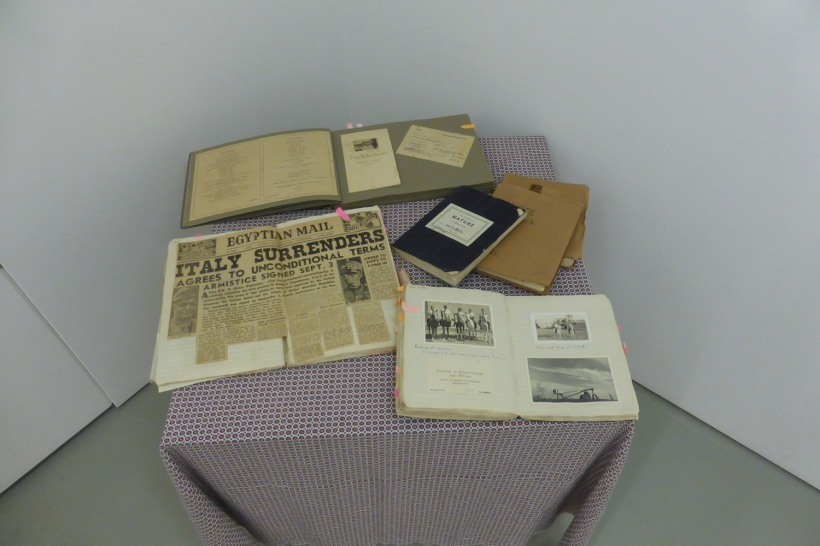The original scrapbooks on display