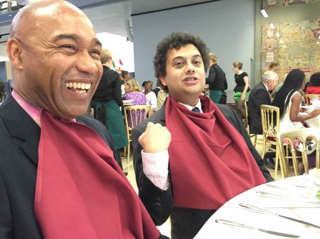 At the Caine Prize dinner - Gus Casely-Hayford and Neel Mukherjee in their best bib and tucker