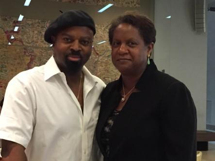 Ben Okri with fellow Caine Prize Council member, Alicia Adams