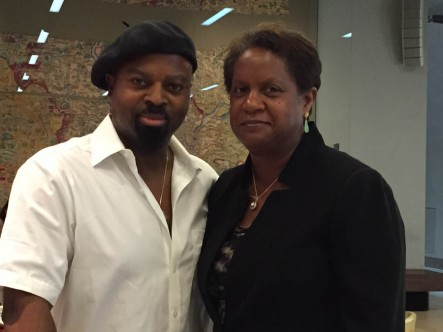 Ben Okri with fellow Caine Prize Council member, Alicia Adams