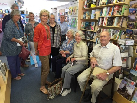At Paragon Books in Sidmouth. Hazel is second form right, next door to Sid, mum's 'knight in shining armour'