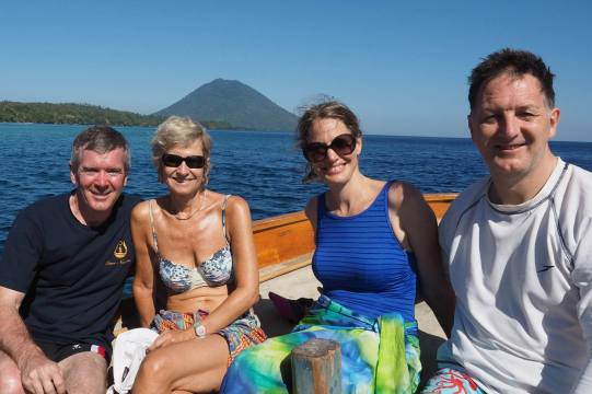 Bunaken, Indonesia: Scenic shot with John and Christina Benson