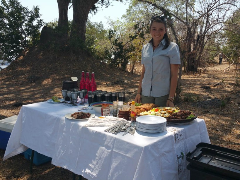 Caitlin with picnic spread at Vundu
