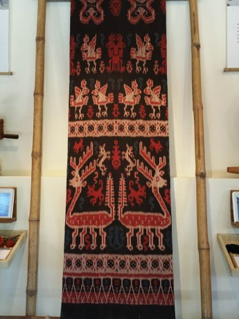 Ikat weaving on display - but mine is nothing like as big as this!