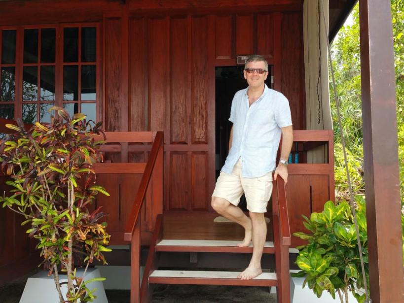 Ross outside the villa