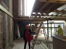 inside what used to be our kitchen, now to be a 2 bed flat - you can see right through the ceiling!