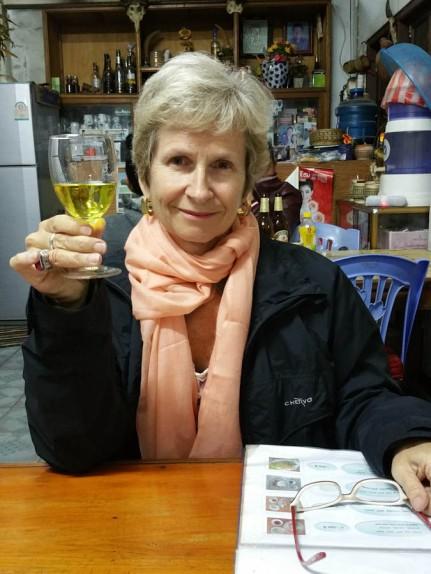 Trying the 'medicinal' rice whiskey! YUK!