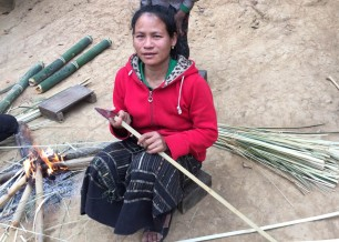 Preparing bamboo for thatching