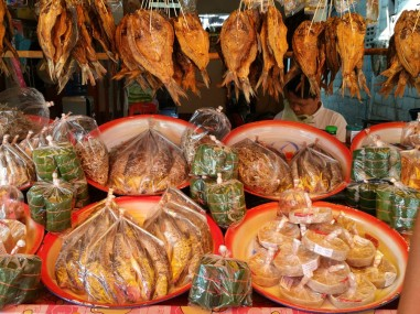 Dried fish for sale by the lake