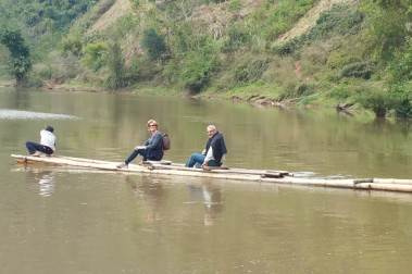 Crossing the river local style