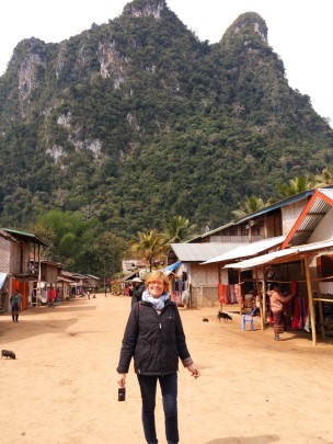 Christine in front of spectacular karst