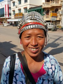 Showing off the Akha headress