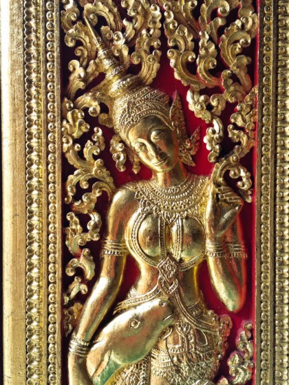 Detail from a door in the Wat Xieng Thong