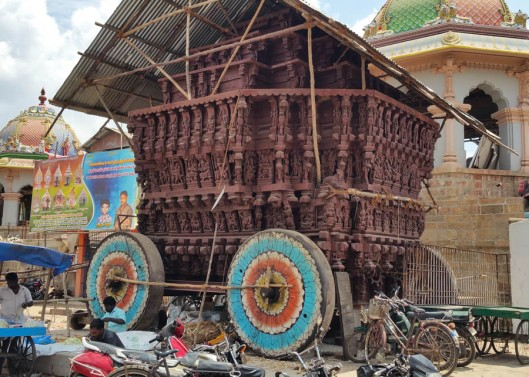 One of the huge chariots used last week in the Mahamahan festival