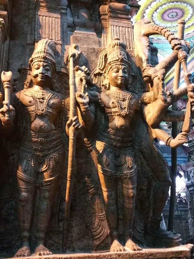 Granite carvings in the Minakshi temple