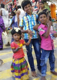 Young pilgrims all dressed up & waiting for Shiva/Minakshi's appearance
