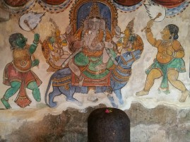 The wonderful murals in Tanjore - note linga in foreground