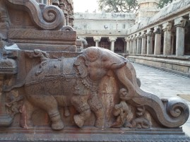 An elephant crushing a man