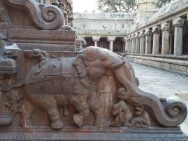 An elephant crushing a man