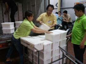 Unloading the vats..