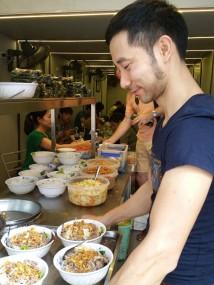 Serving the noodles