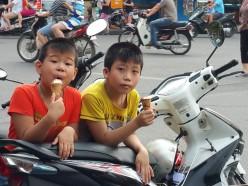 Small boys love ice cream