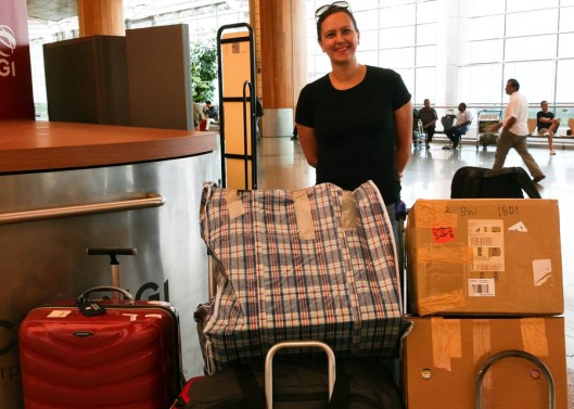 With all our bags at the airport