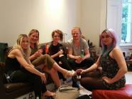 Chilling in the sitting room: Bow, Robyn, Candy, Palex and Dot