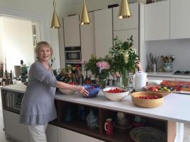 Bonnie in the kitchen upstairs