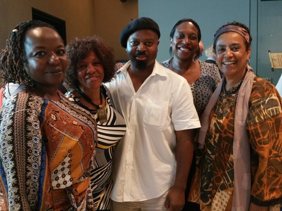 Ben Okra surrounded by a bevy of beauties including Margaret Busby and Ella Allfrey