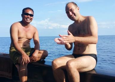Mark and Handriy chatting away in Bahasa