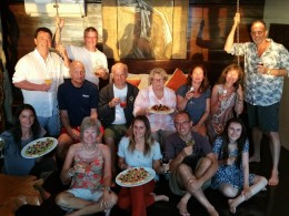 Group photo on the last night in the Captain's Cabin (aka suite!)