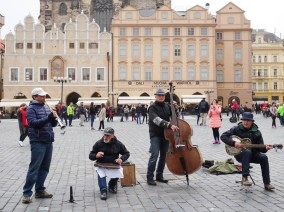 Lots of jazz bands playing in Prague, Old Town Square