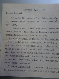 Letter from HU's brother Felix after his death