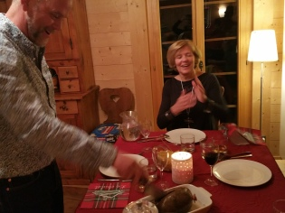 Burns night with the Scottish Cattell cousins: Jamie brought the haggis from Nairn!