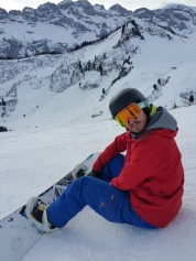 Tommy on his board (his gout prevented him skiing!)